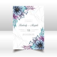 Elegante bruiloft uitnodigingskaart met mooie aquarel bloemen vector