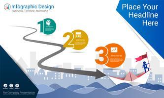 Zakelijk infographicsrapport, Milestone-tijdlijn of routekaart met Processtroomdiagram 3 opties.