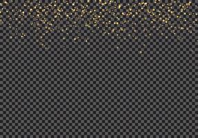 Gouden vallende glitter deeltjes effect op transparante achtergrond.