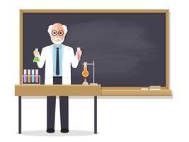 Hogere wetenschapsleraar die student in klaslokaal onderwijst. vector