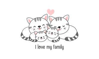 """De leuke gelukkige kattenfamilie zegt """"ik houd van mijn familie""""."""