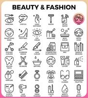 Schoonheid en mode pictogramserie
