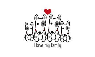 """De leuke gelukkige hondfamilie zegt """"ik houd van mijn familie""""."""