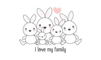 """De leuke gelukkige haasfamilie zegt """"ik houd van mijn familie"""". vector"""