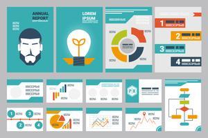 jaarverslag omvat A4-blad en presentatiesjabloon vector