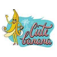 Leuke ongebruikelijke hand getrokken druk voor textiel met grappig beeldverhaalkarakter van banaan en hand geschreven nota vector