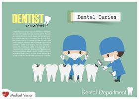 Tandarts controleer je tanden en zoek tandbederf. Vector. Plat ontwerp .