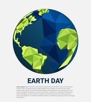 Red Earth Planet en de wereld. Wereld milieu dag concept. geometrische groene aarde.