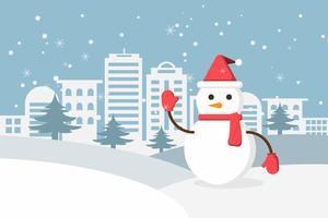 De wintersneeuw en sneeuwman in stedelijk platteland met stad dorp. Gelukkig nieuwjaar en vrolijk kerstfeest.