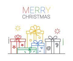 Vrolijk kerstfeest en een gelukkig nieuwjaar. xmas achtergrond. dunne lijn kunststijl.