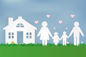 Gelukkige liefdesfamilie. Gelukkige ouderdag met vader, moeder en kinderen. Ontwerp van papieren kunst.