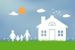 Gezin met kinderen in het huis. Paar dat zich buiten nieuw huis bevindt. platte ontwerpstijl.