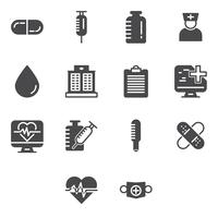 Medische en gezondheidszorg pictogrammen instellen. vector