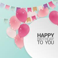 Verjaardag of gelukkige verjaardag viering achtergrond met ballonnen. Illustratie.