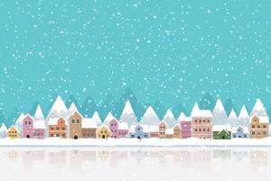 Winterstad vlakke stijl met sneeuw vallen en berg 002