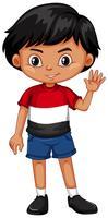 Kleine jongen zwaaiende hand vector