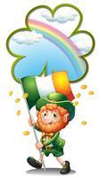 Een oude man met de vlag van Ierland