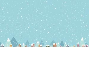 De stad in de sneeuw valt in vlakke kleur 001