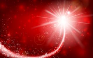 De wintersneeuwvlok die met schitteren vallen en over rode abstracte achtergrond voor de winter en Kerstmis met exemplaar ruimte en vectorillustratie 003 aansteken