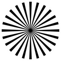 zwart en wit balken element. Zonnestraal, starburst vorm op wit. Radiale cirkelvormige geometrische vorm.