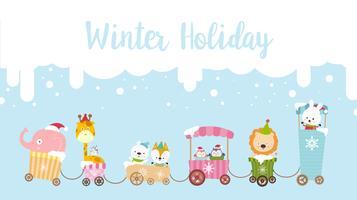 Winter vakantie kalligrafie tekst met dierlijk beeldverhaal 001