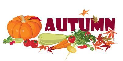 Plantaardig label. Gezond eten. Herfst oogst banner.