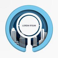 Het zoeken naar kansen met meer magnifier glas op cityscape achtergrond. Bedrijfsconcept. papierkunststijl.