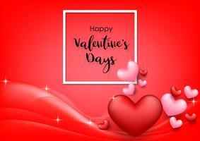 Roze Valentijnsdag achtergrond met hartjes op rood. Vector illustratie. Leuke liefdebanner of groetkaart