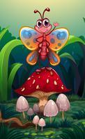 Een vlinder die zich boven de grote rode paddestoel bevindt
