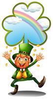 Een man draagt groen met tokens
