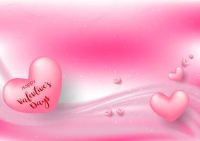 Roze Valentijnsdag met hartjes op roze achtergrond. Vector illustratie. Leuke liefdebanner of groetkaart