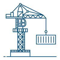 Lijnstijl. Kraan ilustration vector achtergrond. vrachtvervoer en logistiek concept.