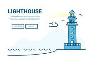 Vuurtoren die achtergrond bouwen. ontwerp voor de website van de bestemmingspagina.