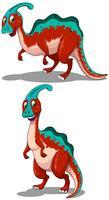 Rode parasaurolophus in twee houdingen