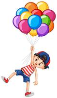 Gelukkige jongen en veel ballonnen vector