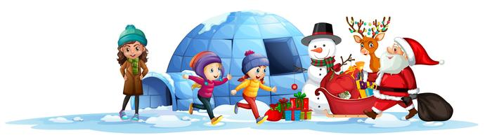 Gelukkige kinderen ontvangen cadeau van santa vector