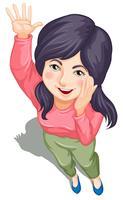 Een topview van een jong meisje dat zwaait