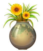 Een pot met gele bloemen vector