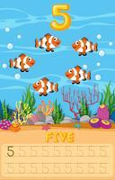 Vijf werkbladen onder water