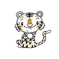 schattige kleine tijger cartoon doodle vector