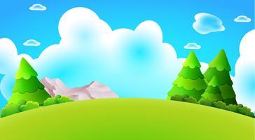 De landschaps vectoraard van het beeldverhaal bosheuvel illustratie als achtergrond