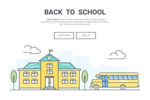 Landschap terug naar school-concept. ontwerp voor onderwijs thema bestemmingspagina website. Thine Line-kunst.