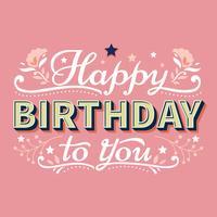 Gelukkige verjaardag typografie belettering met sterren en bloeien achtergrond