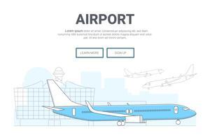 Landschapsvliegtuig op luchthavenachtergrond. ontwerp voor de website van de bestemmingspagina. Thine Line-kunst vector