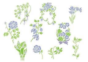 Violet bloemen Vector Pack