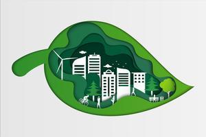 Aardmening van groen gras in groen blad bij de zomer en openbaar park op stedelijke stad. origami concept en ecologie idee. vector