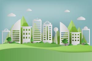 Papierkunst van groen gras en park op stedelijke stad. origami concept en ecologie idee.