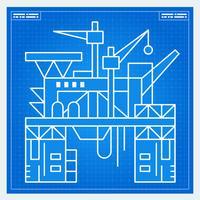 Olieplatform rig blauwdruk schema vector