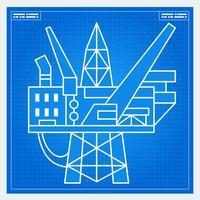 Olieplatform rig blauwdruk schema