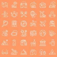 Reis geplaatste pictogrammen. vector